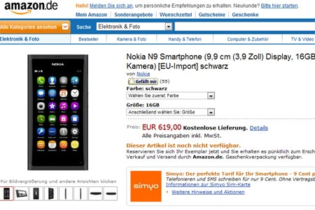 Nokia N9 in prevendita Amazon.de