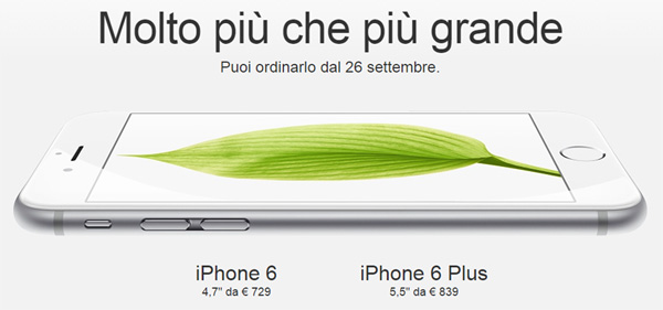 Apple iPhone 6 in Italia da 729 euro dal 26 settembre