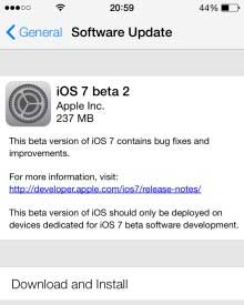 Apple iOS 7 beta 2