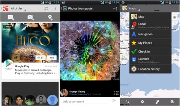 Google Plus e Maps per Android