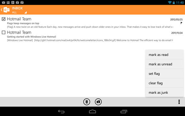 Microsoft Outlook Android App Ottobre 2013