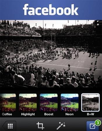 Facebook app filtri foto