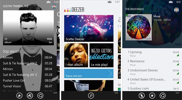Deezer per Widnows Phone 8.