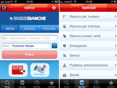 PagineBianche per iPhone