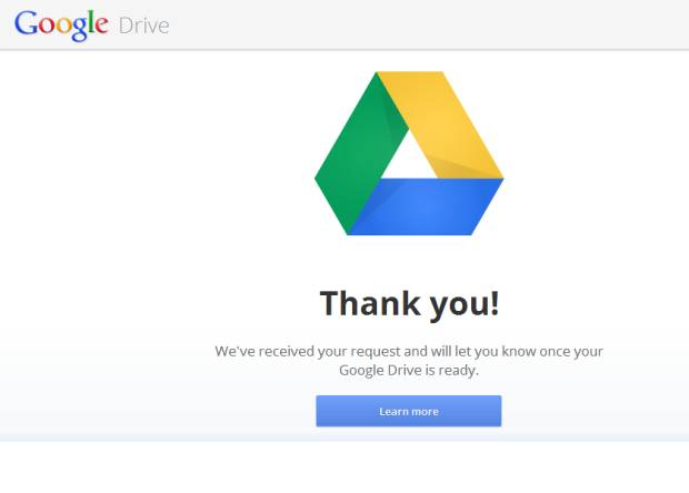 Google Drive Home Screen