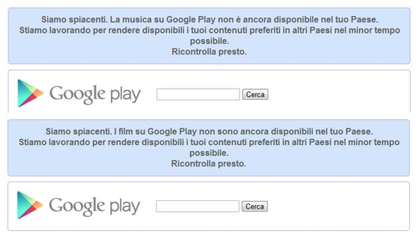 Google Play ancora non disponibile in Italia