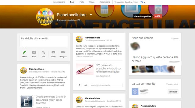 Google Plus nuovo design