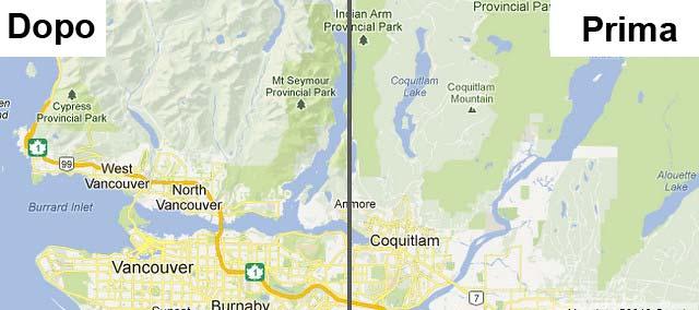 Google Maps prima dopo terreno aggiornamento