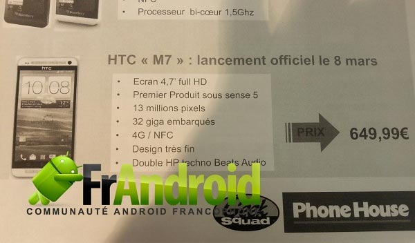 HTC M7 specifiche ufficiose