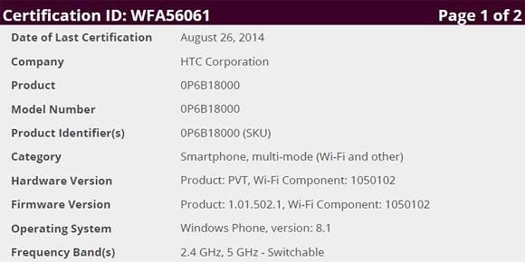 HTC One M8 con Windows certificato Wi-Fi