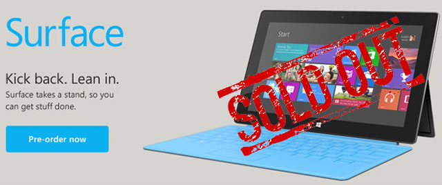 Microsoft Surface sold out