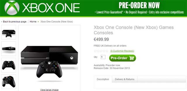 Microsoft Xbox One pre-ordine
