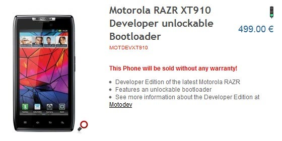 Motorola RAZR Developer sbloccato
