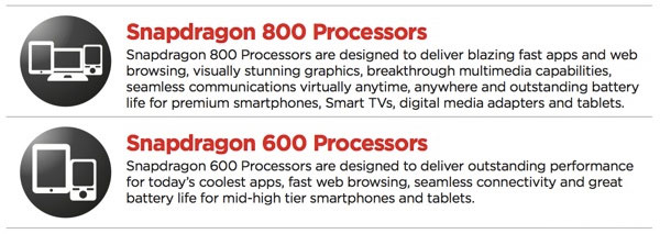 Qualcomm Snapdragon 600 Snapdragon 800