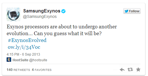 Tweet Samsung Exynos 6 settembre 2013