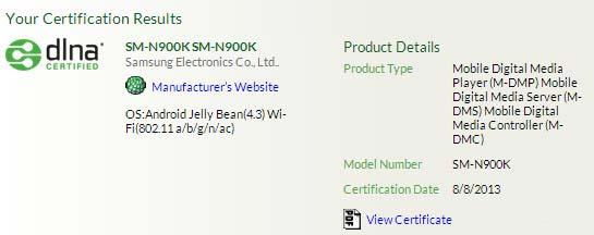 certificazione DLNA di Samsung Galaxy Note 3