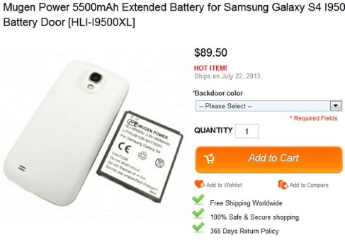 Samsung Galaxy S4: batteria da 5500mAh da Mugen Power