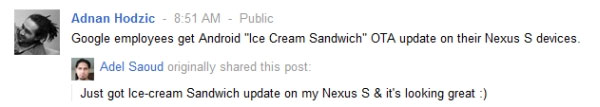 Android Ice Crea Sandwich per Google Plus, screenshot