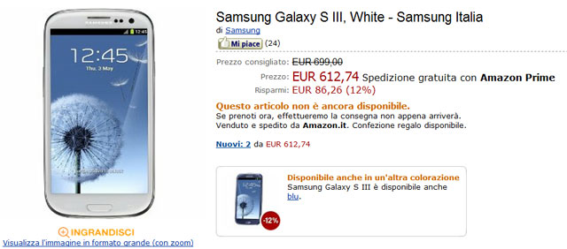 Samsung Galaxy S3 Amazon Italia