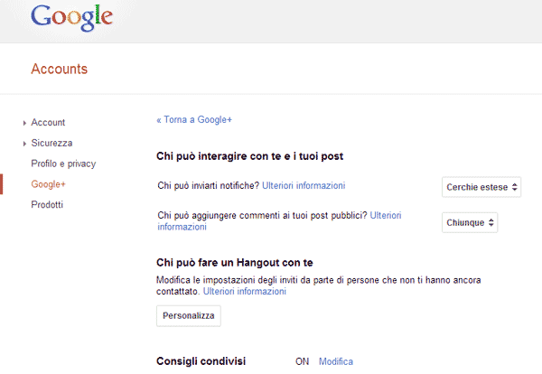Google Plus pagina privacy