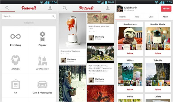 Pinterest per dispositivi Android