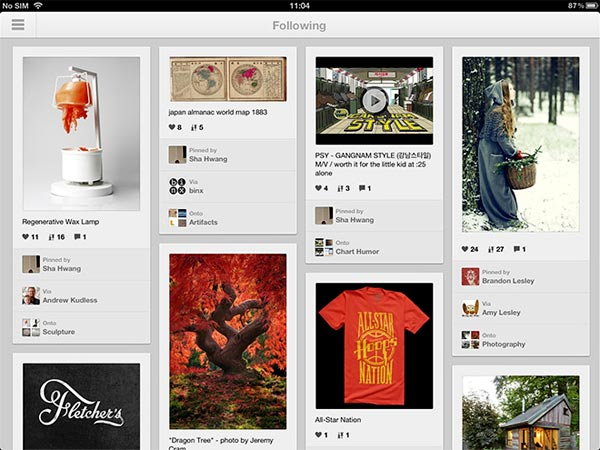 Pinterest per dispositivi iPad