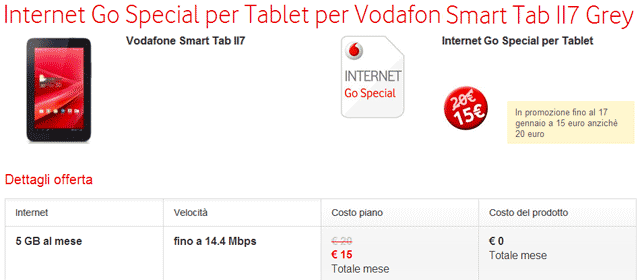 Internet Go Special per Tablet per Vodafone Smart Tab II7 Grey