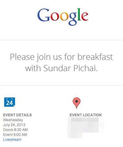 Google invito 24 Luglio 2013