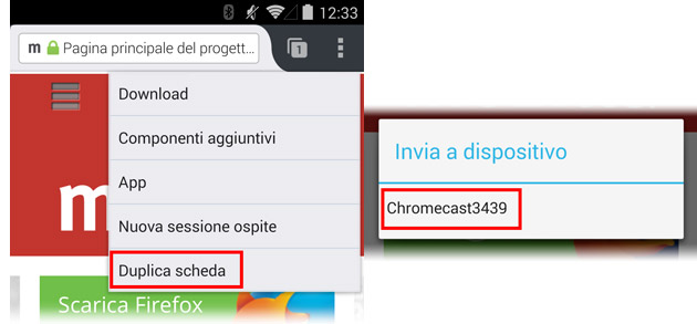 Firefox per Android - mirroring Tab con Chromecast