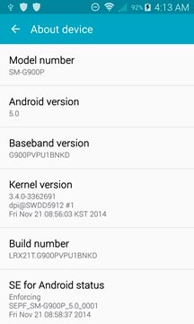Screenshot ROM Android Lollipop per Samsung Galaxy S5