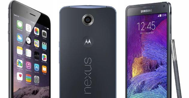Apple iPhone 6 Plus, Nexus 6, Samsung Galaxy Note 4