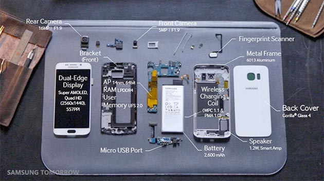 Samsung Galaxy S6 Edge disassemblato