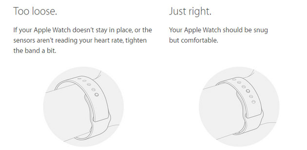 Apple Watch ben stretto al polso
