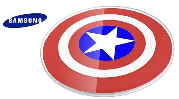 caricabatterie wireless a tema Captain America