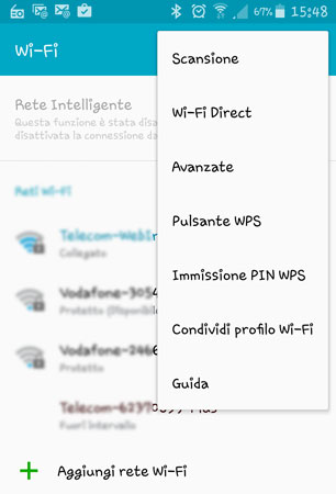 Pulsante WPS - smartphone Android in WiFi