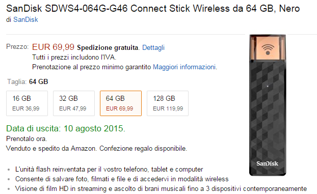 SanDisk Stick Connect Wireless - prezzi
