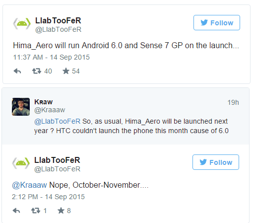 Twitter - voci su HTC One A9
