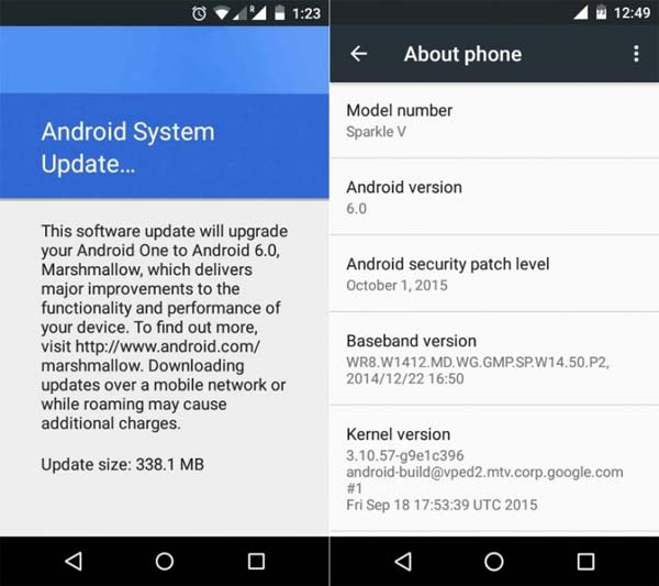 Android One - changelog Android 6.0 Marshmallow