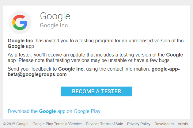 Google - invito app beta testing
