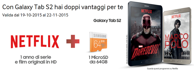 Netflix in regalo con Galaxy Tab S2