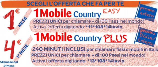 1Mobile Country Plus e Country Easy