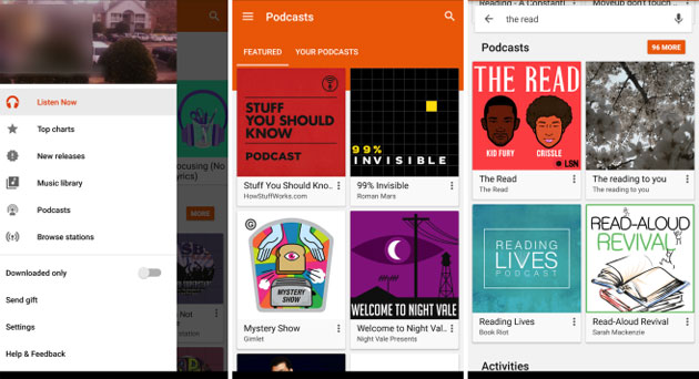 Podcast in Google Play Music