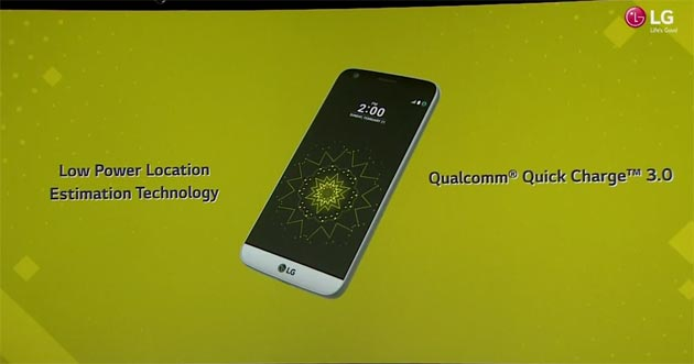 LG G5 - low power location e Quick Charge 3.0