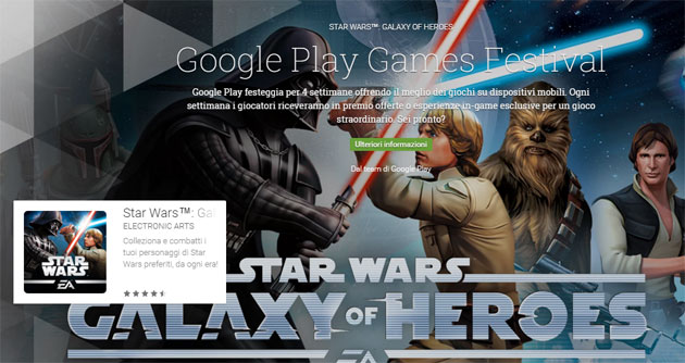Google Play Games Festival - 2a settimana con Star Wars: Galaxy of Heroes
