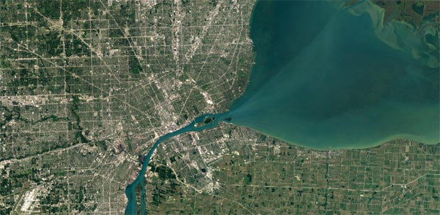 Google Maps - Detroit, Michigan con Landsat 8