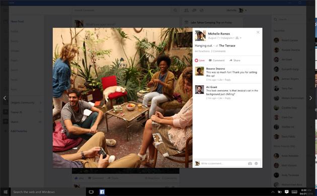 Facebook sbarca su Windows 10