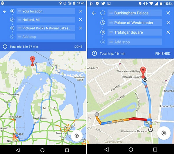 Google Maps mobile con multi-destinazioni