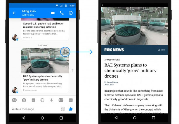 Instant Articles di Facebook in Messenger