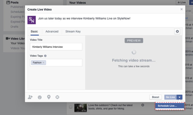 Facebook: come programmare un Live Video (3)