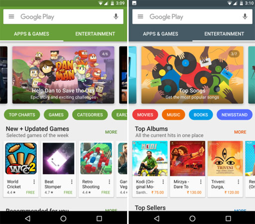 Google Play Store - preview nuova versione